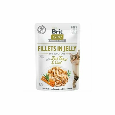 Brit care fillet in jelly for adult cats with fine trout & cod 85grs