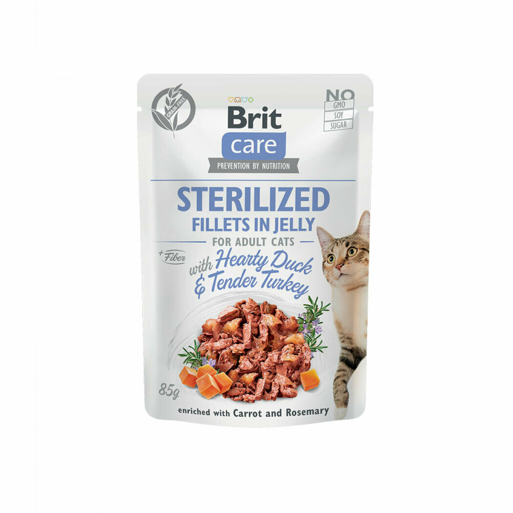 Brit care fillet in jelly hearty duck & tender turkey for sterilized adult cats 85grs