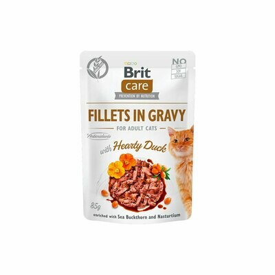 Brit care fillet in gravy with hearty duck for adult cats 85grs.