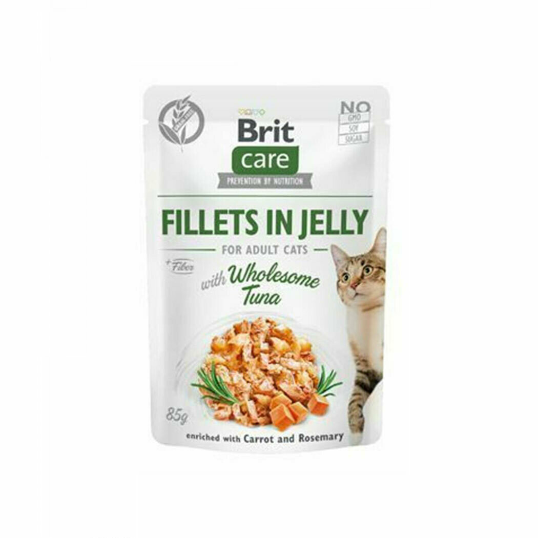 Brit care fillet in jelly with wholesome tuna for adult cats 85grs.