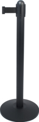 Retractable Barrier Post - Black Coated with Black Nylon Belt