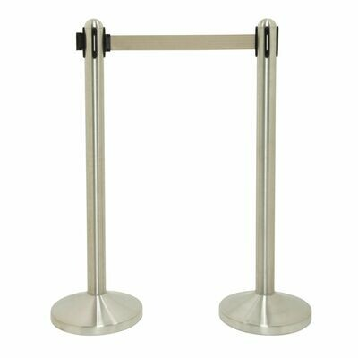 Retractable Barrier Post with Grey Nylon Belt - Brushed Steel