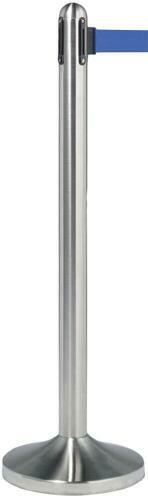 Retractable Barrier Post with Blue Nylon Belt - Brushed  Steel