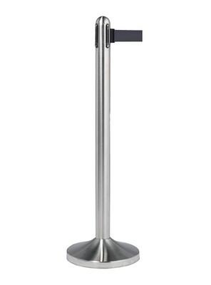 Retractable Barrier Post with Black Nylon Belt - Brushed Steel