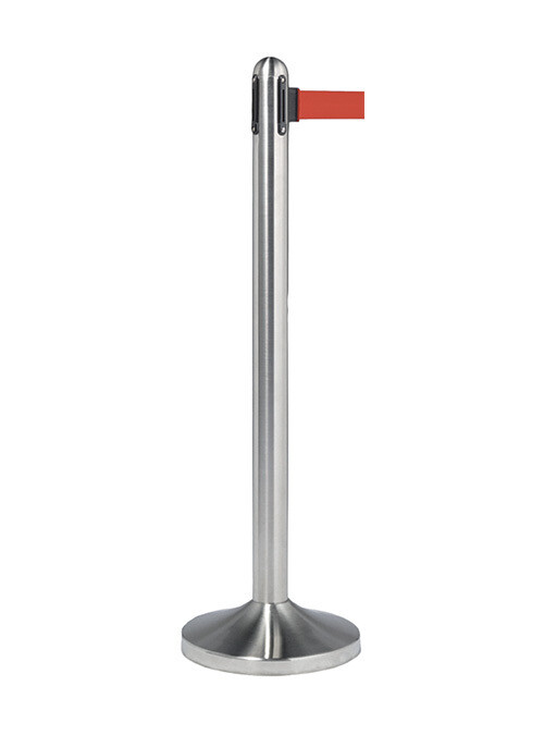 Retractable Barrier Post with Red Nylon Belt - Brushed Steel