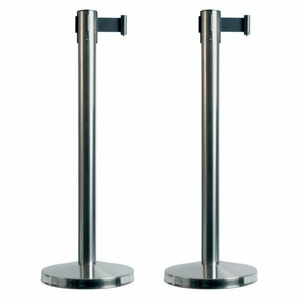 Budget Retractable Stainless Post with Black Belt - Pair