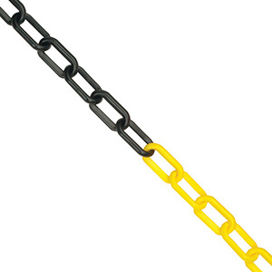 Plastic Chain Yellow and Black 8mm per metre