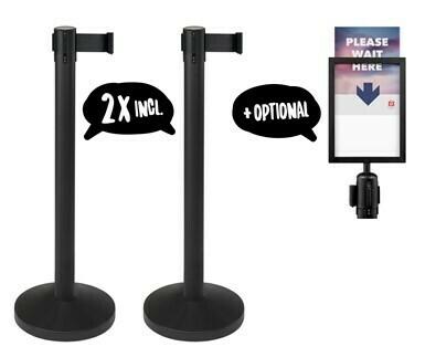Budget Retractable  Black Post with Black Belt - Pair