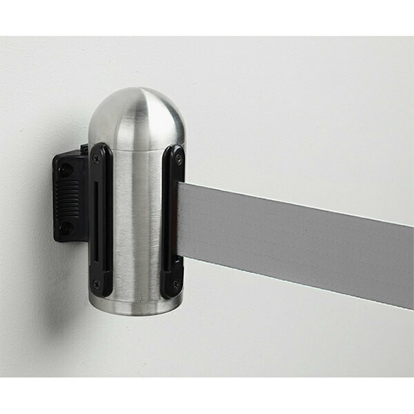 Retractable Barrier Post Grey Belt - Brushed Steel Wall Mounted