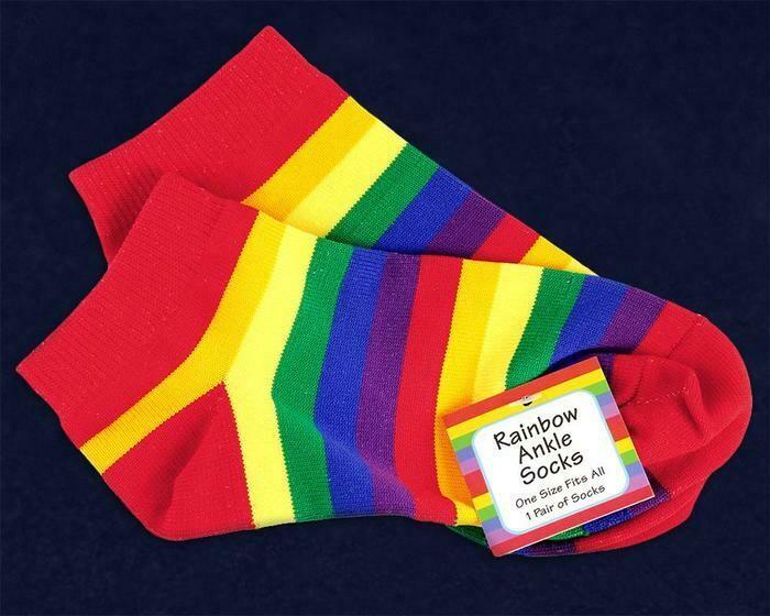 Rainbow Striped Ankle Socks