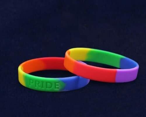 Rainbow Silicone Pride Flag Wristbands - Adult Gay Pride Bracelets for Men & LGBT Bracelets for Women