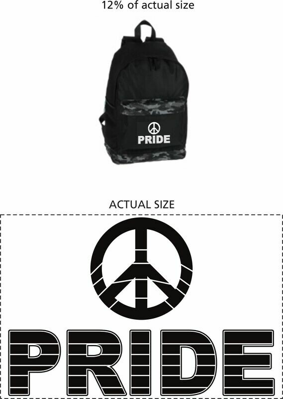 Black Garrison Backpack with Peace Logo and the word Pride with black lines going through symbol & word.