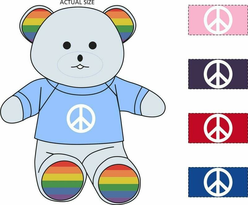 Rainbow Bear comes in the following colors: Royal Blue - Light Blue - Purple - Pink - Red