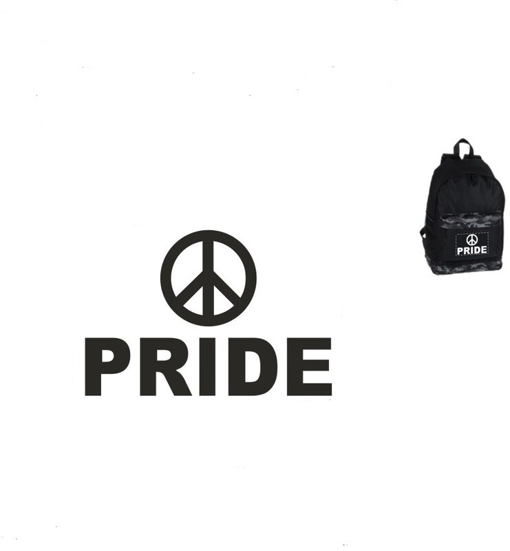 Black Garrison Backpack with Peace Logo and the word Pride