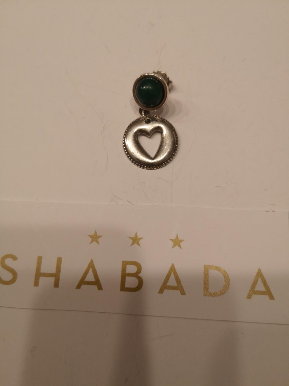 Boucle d'oreille argent jade verte coeur