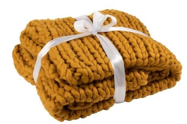 Plaid tricoté Ocre