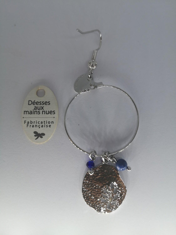 Boucle d'oreille bleue creole pampille perles bleu