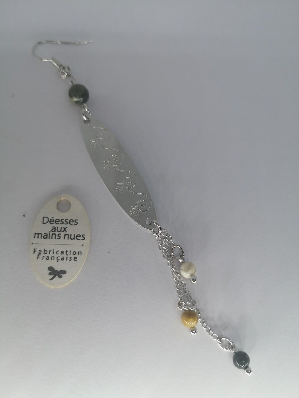 Boucle d'oreille longue pendante argent perle de couleur