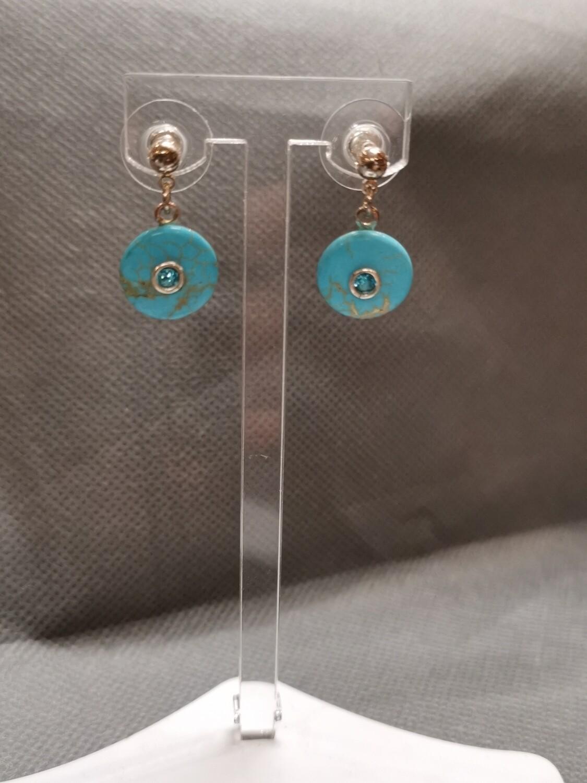 Boucles d'oreilles strass turquoise