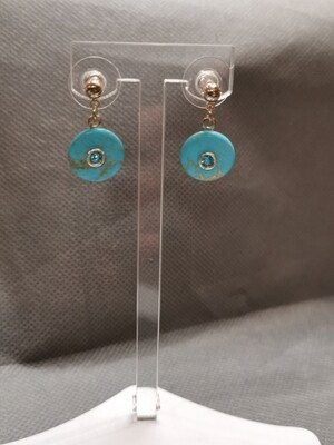 Boucles d'oreilles strass turquoise