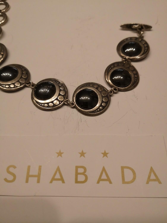Bracelet argent ronds pierres noires