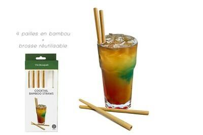 Ensemble de 4 pailles bambou  + brosse réutilisable