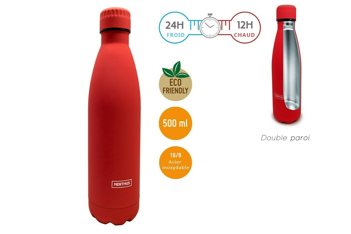 BOUTEILLE INOX 500ML DOUBLE PAROI ROUGE
