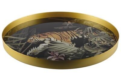 Plateau rond doré et noir tigre Kenya