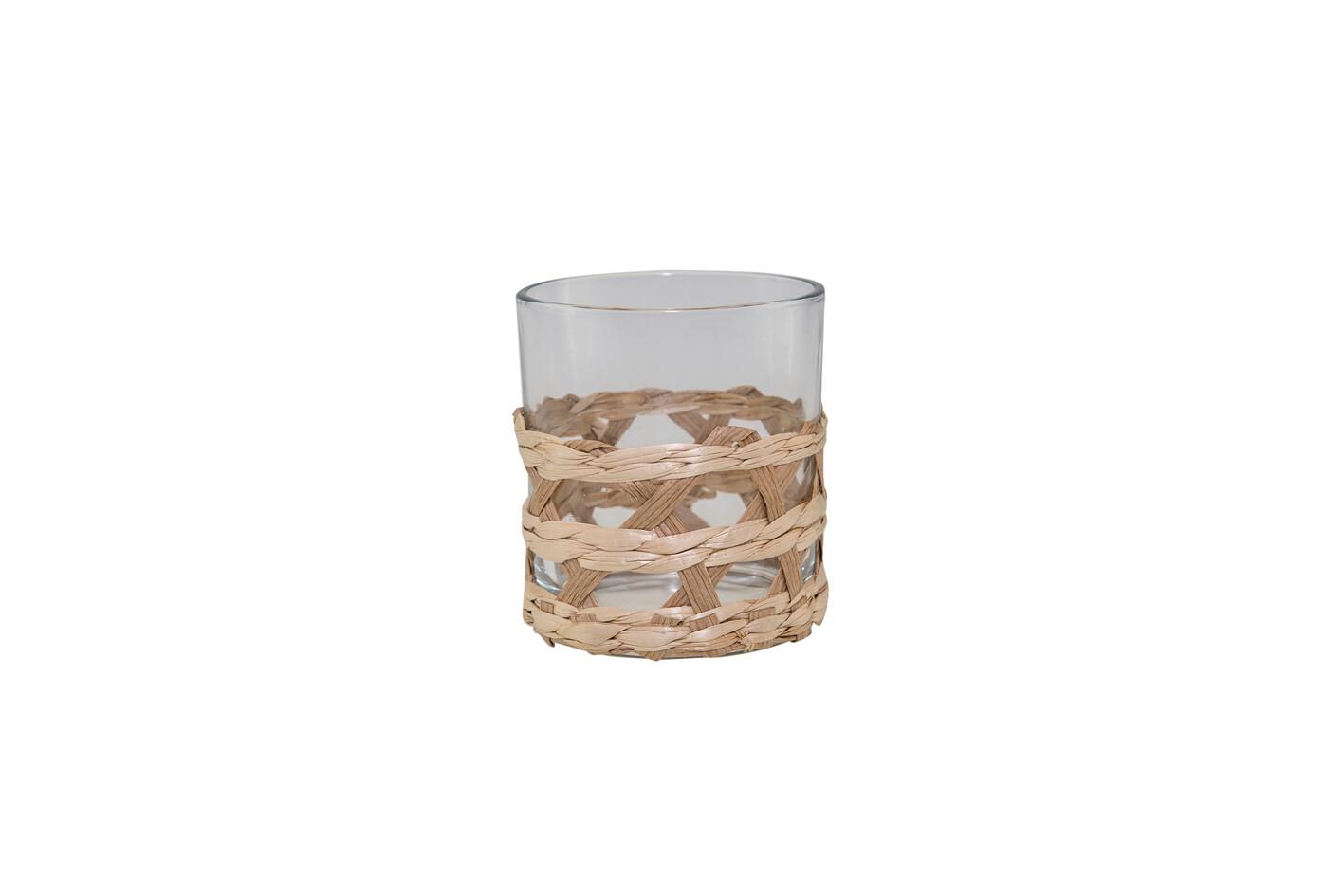 Lot de 4 verres + pichet 10x26cm rotin
