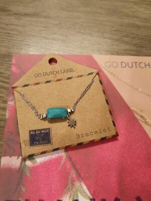 Bracelet acier argent étoile turquoise