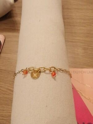 Bracelet acier doré étoile perles corail