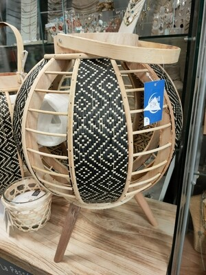 Photophore boule noir et bois