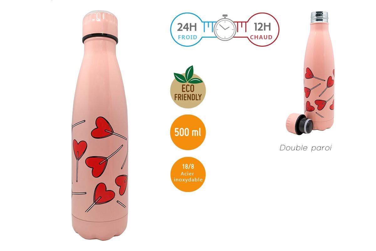 Bouteille Cœur Rose 500ml