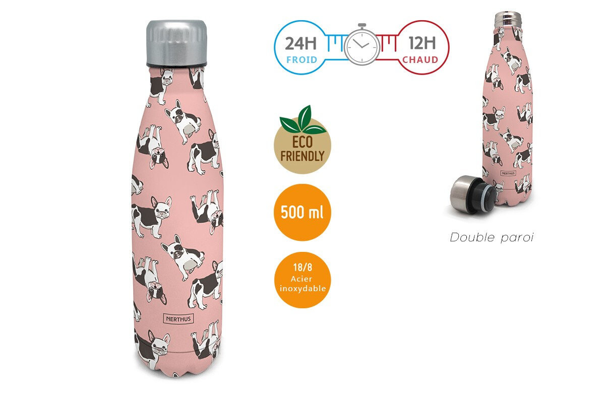 Bouteille chiens roses 500ml