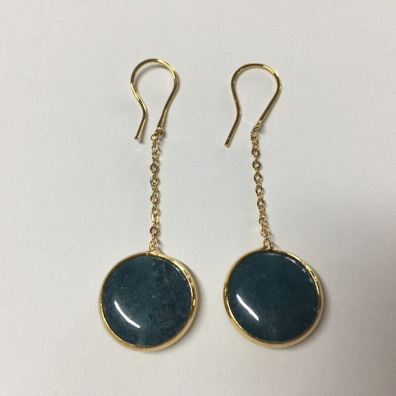 BE-829 gold plated stone earrings