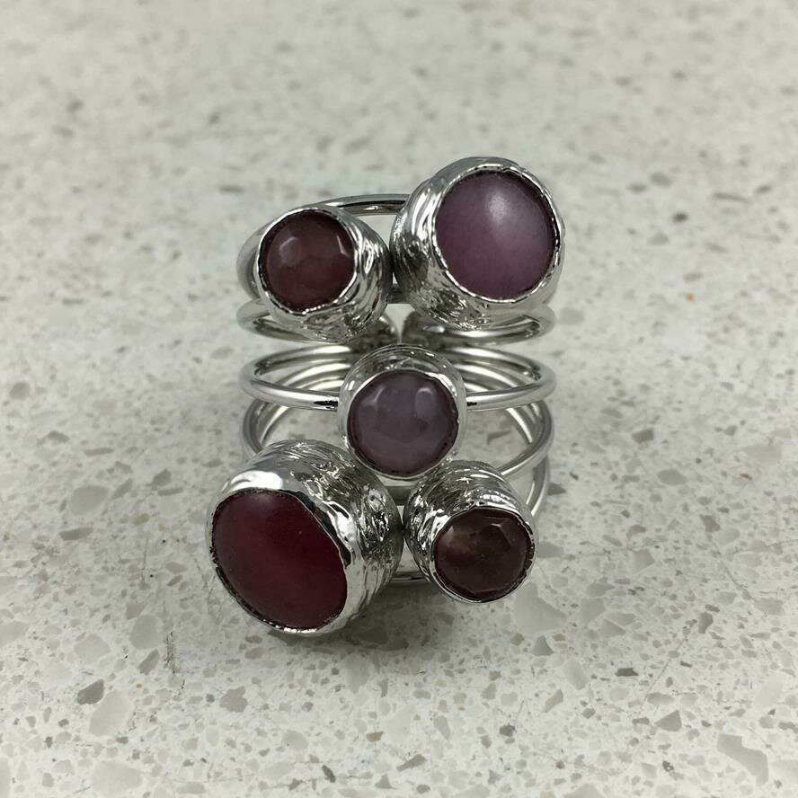 38501PNKS - Silver & Gold Plated Stone Ring