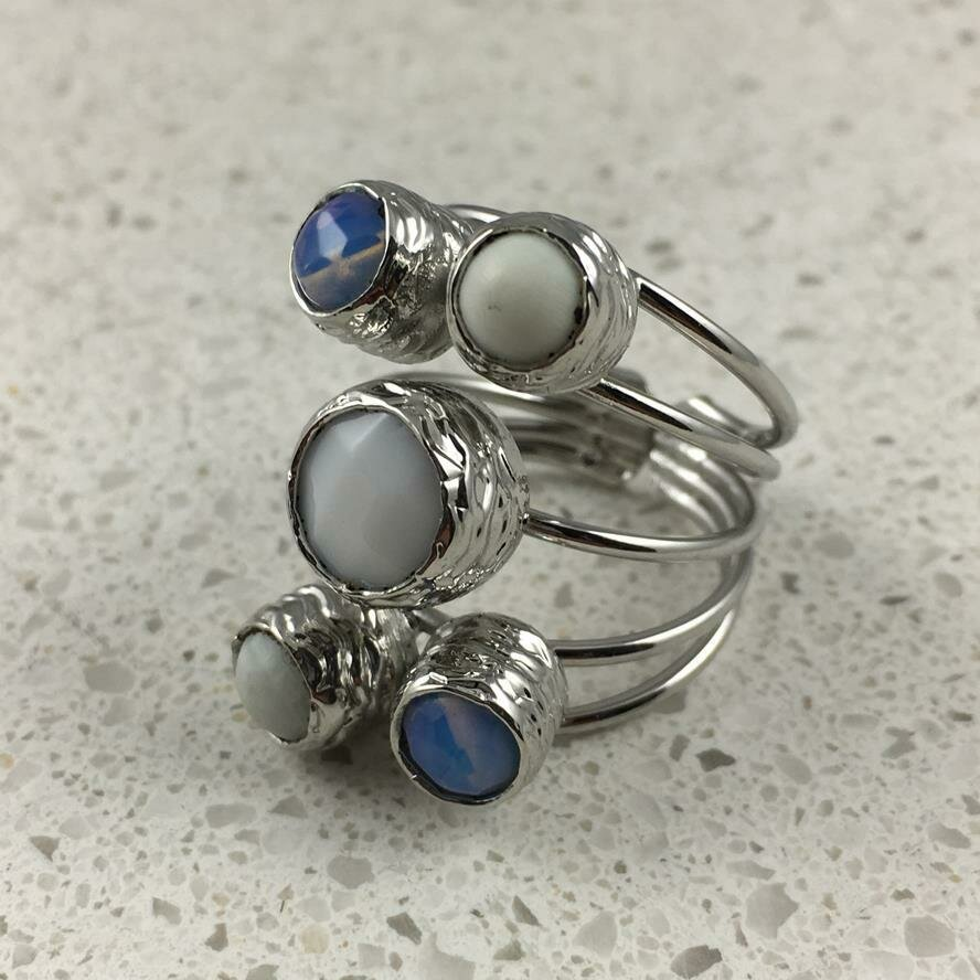 38501WS - Silver & Gold Plated Stone Ring