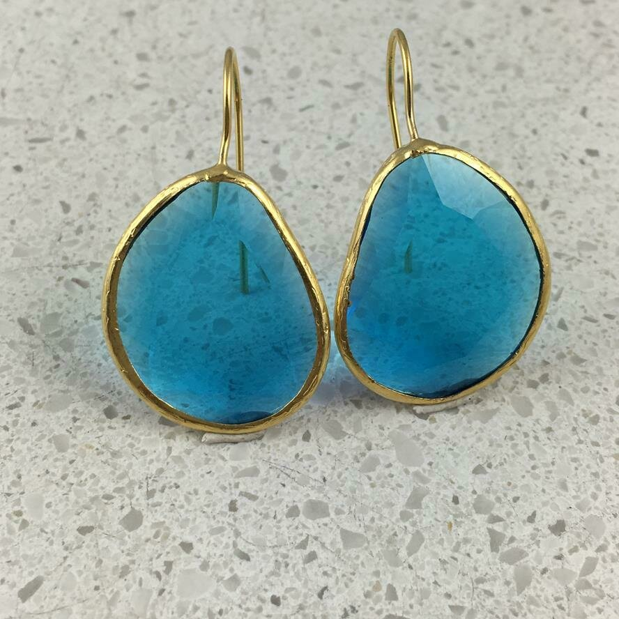 45038 - Silver & Gold Plated Stone Earring