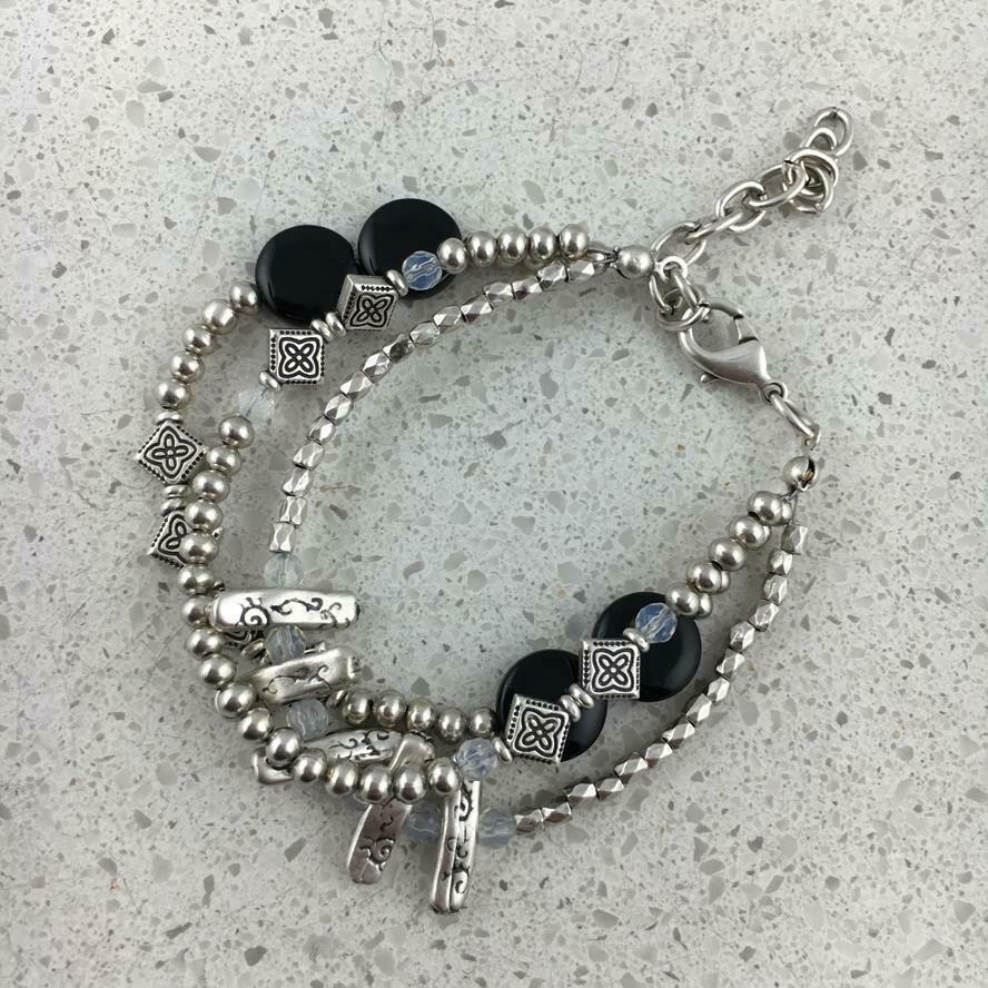 44502 - Silver & Gold Plated Stone Bracelet