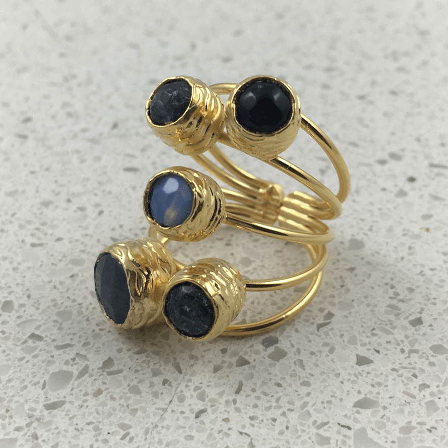 38501GRY - Silver & Gold Plated Stone Ring