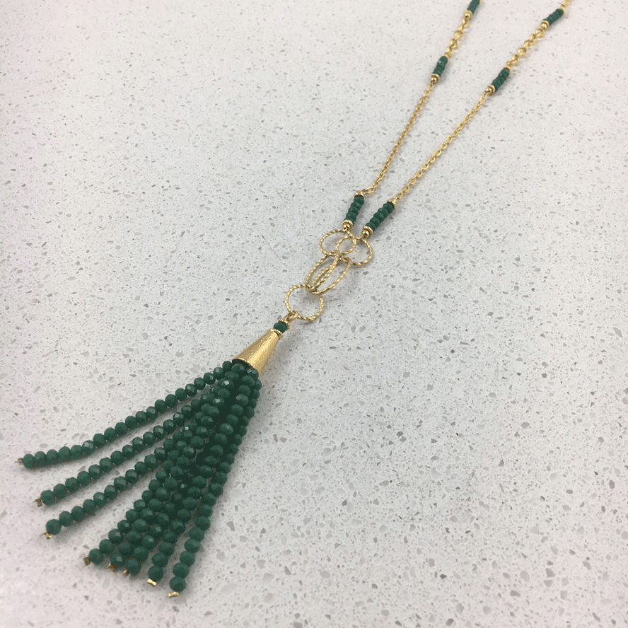 32763 - Silver & Gold Plated Stone Necklace