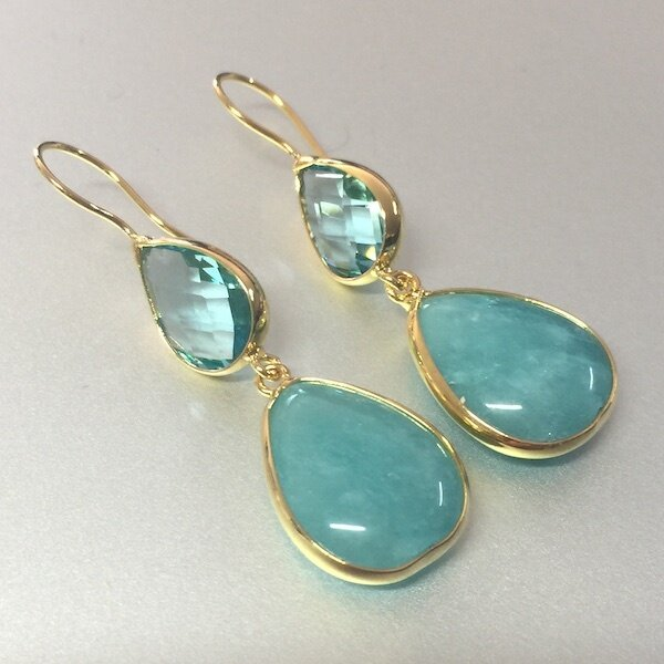 BE-828 Gold plated stone earrings