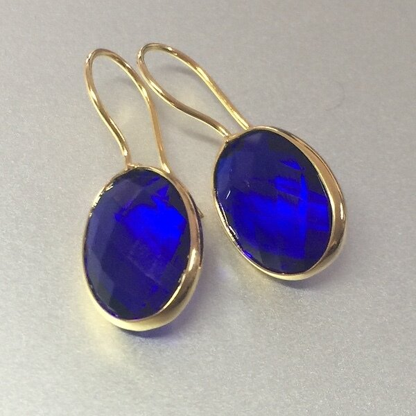 BE-835 Gold plated stone earrings