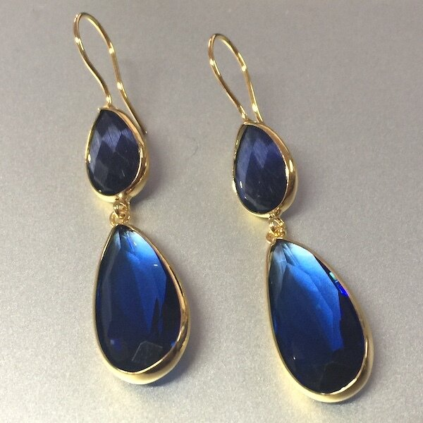 BE-831 Gold plated stone earrings