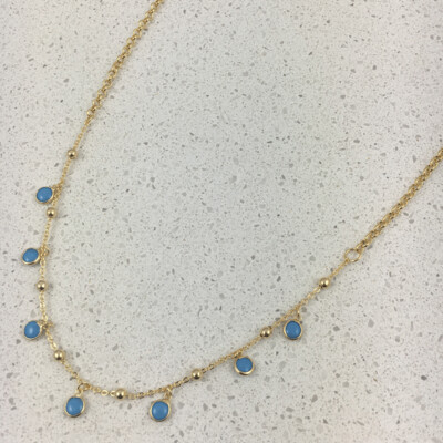 B114G - Silver & Gold Plated Stone Necklace