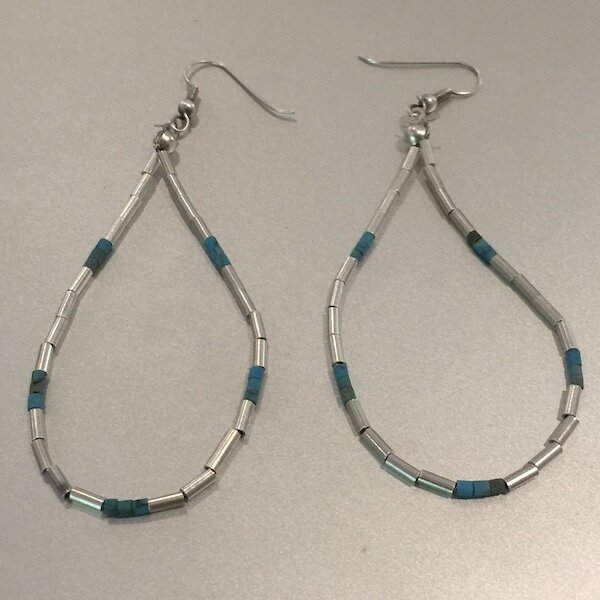 OTE-24 Silver plated stone earrings