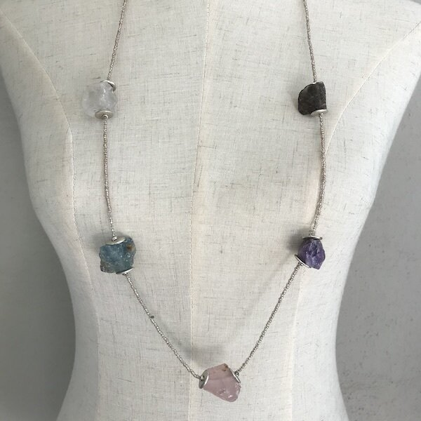BN-1912 Silver plated stone necklace