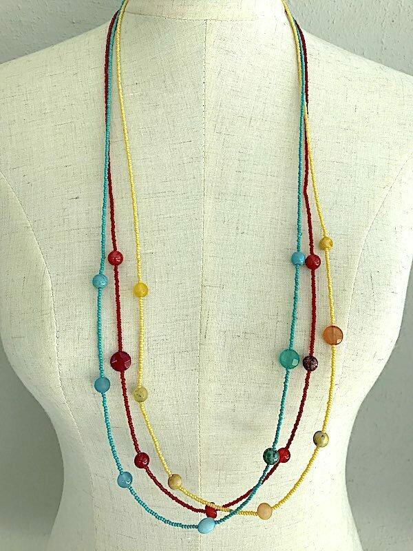 BN-1938 Stone beaded necklaces