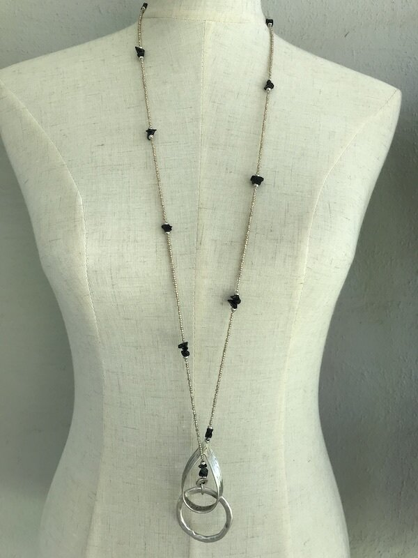 BN-1914 Silver plated stone necklace