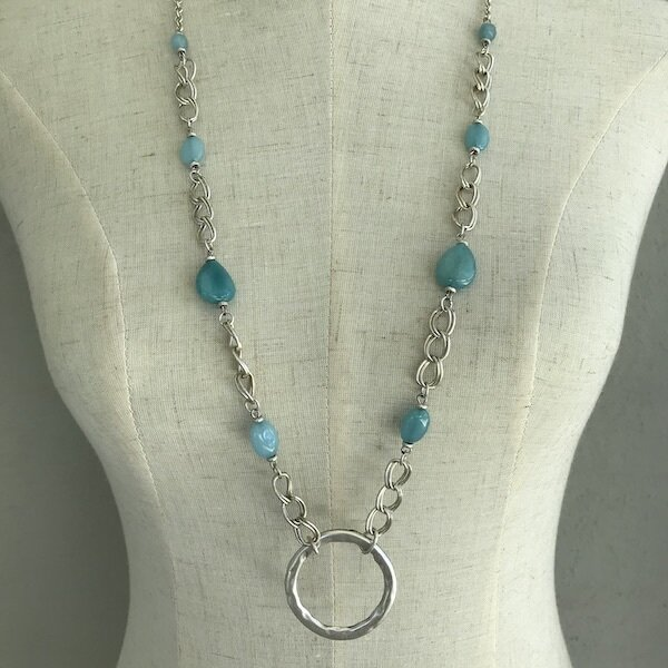 BN-1905 Silver plated stone necklace